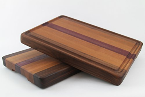 Handcrafted Wood Cutting Board - Edge Grain - Cherry, Purpleheart & Walnut. No slip and easy grip. Optional juice groove. For Chefs or cooks