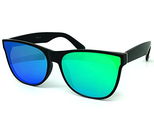 O2 Eyewear 7131 Premium Flat Semi-Shield Matte Finish Mirror Womens Mens Sunglasses (MATTE BLACK, - Bans Turquoise Ray