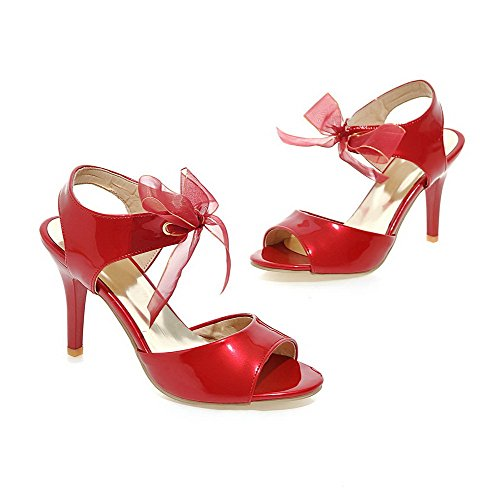 Heeled Open up Solid WeenFashion High Sandals Toe Women's Red Pu Lace Heels BqnnxUz5w
