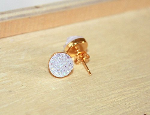 Gold Vermeil & Opal White Druzy Stud Earrings / 8 mm / Titanium Quartz / Bridesmaid Set of 3, 4, 5, 6, 7, 9, 10 / Gift for her (Vermeil Earrings Settings)