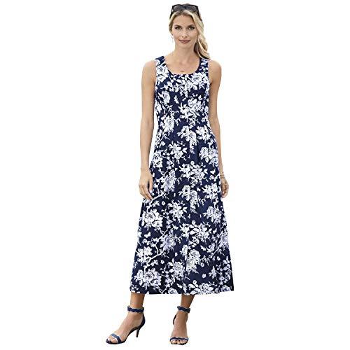 CHADWICKS OF BOSTON Women's Misses & Petite & Plus Size Sleeveless Button Front Dress (Petite, Dark Navy -