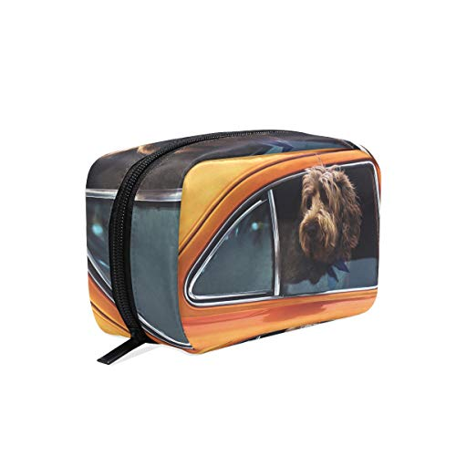 Cosmetic Makeup Bag Pouch Dog Muzzle Window Car Clutch -