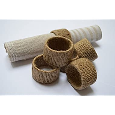 Natural Eco Friendly Jute Napkin Rings Set of 6