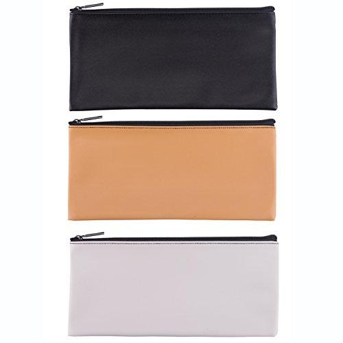 Leatherette Zipper (LUNASMILE Leatherette Securit Bank Deposit Bag/Check Wallet/Utility Zipper Coin Bag, 11 x 6 Inches Check Bag (Mix3))
