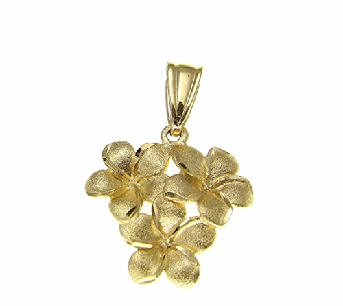 (Arthur's Jewelry 14K Solid Yellow Gold 9mm Hawaiian Plumeria Flower Cluster Pendant)