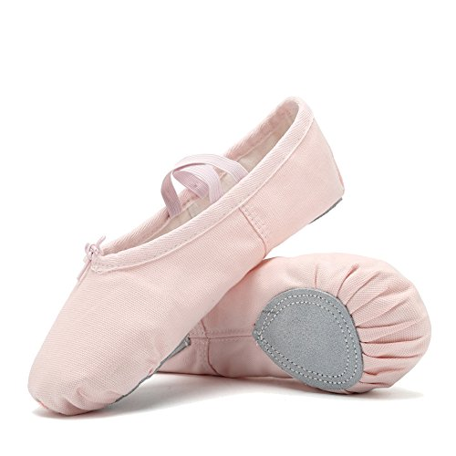 CIOR Ballet Slippers For Girls Classic Split-Sole Canvas Dance Gymnastics Yoga Shoes Flats(Toddler/Little Kid/Big Kid/Women) VTW01-2,Pink,33