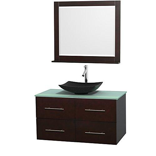 Wyndham Collection Centra 42 inch Single Bathroom Vanity in Espresso, Green Glass Countertop, Arista Black Granite Sink, and 36 inch Mirror - Galiano Collection