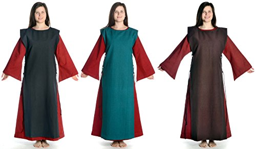 Kleid Baumwolle S Mittelalter Damen schwarz Dunkelrot mit Damenkleid XL mit HEMAD dunkelrot Skapulier Leinenstruktur YxEqFF8T