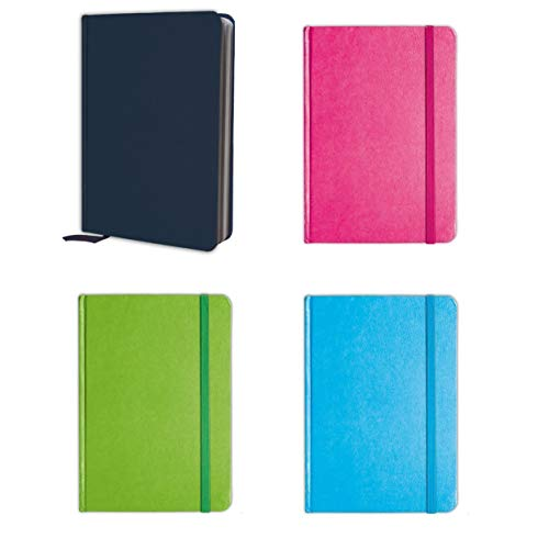 - B-THERE Bundle of 4 Colorful Personal Notebooks, Notebook Set Lined Pages, Stationery Notepads w Textured Colored Covers, Elastic Band and Ribbon Bookmarks