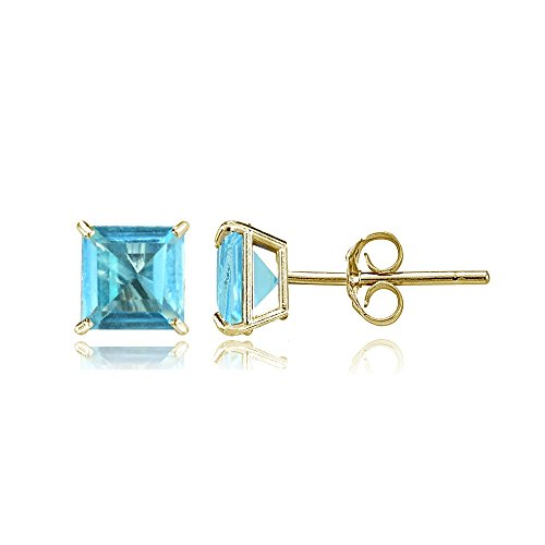 Gold Swiss Cut Earrings (Bria Lou 14k Yellow Gold Swiss Blue Topaz Gemstone 5mm Square-Cut Solitaire Stud Earrings)