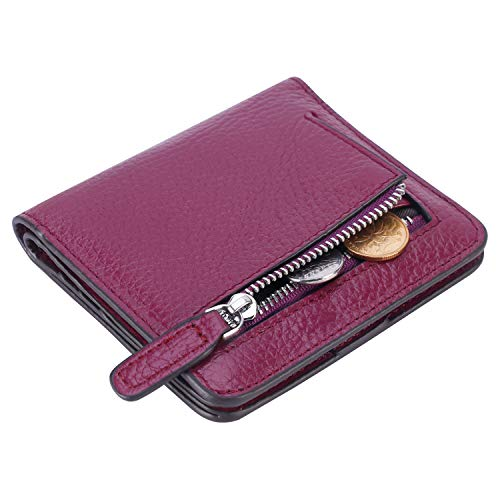 Lavemi RFID Blocking Small Compact Mini Bifold Credit Card Holder Leather Pocket Wallets for Women(Pebbled Dark Magenta) (Zippered Id Wallet)