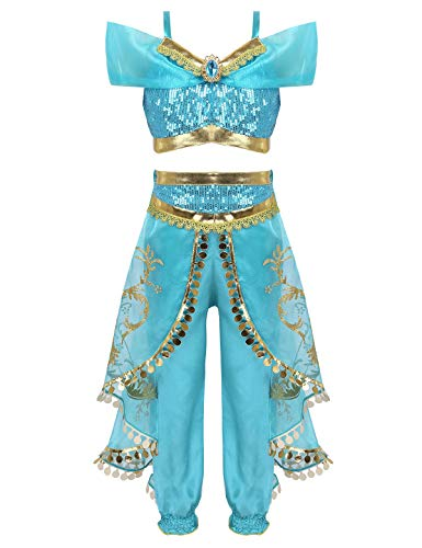 Freebily Kids Girls Aladdin Princess Jasmine Costumes Sequins Crop Top with Ruffles Pants Halloween Cosplay Party Lake Blue 9-10 -
