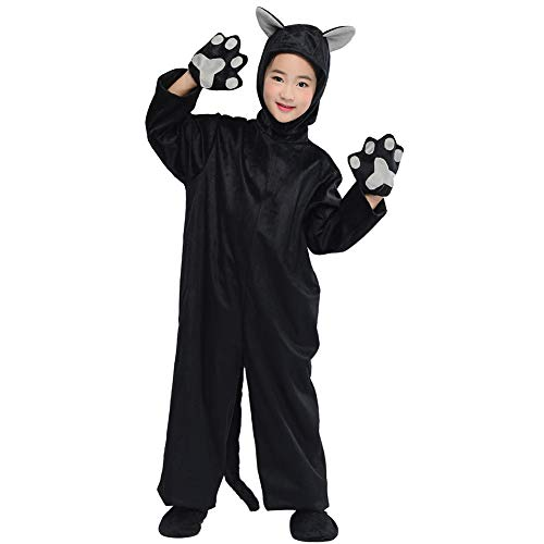 Kids Black Cat Costumes Animals Cosplay Fancy Dress Child Jumpsuit Outfits (Black Cat, M) ()