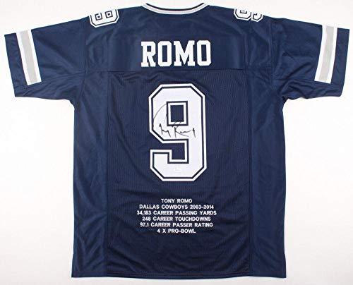 - Tony Romo Signed Jersey - PRO STYLE STAT w WITNESS COA #WPP189482 - JSA Certified - Autographed NFL Jerseys