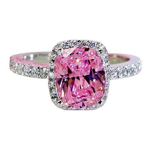 Wisslotus 2CT Asscher Cut Pink Sapphire Cubic Zirconia CZ Engagement Bridal Anniversary Wedding Ring for Girls (8)