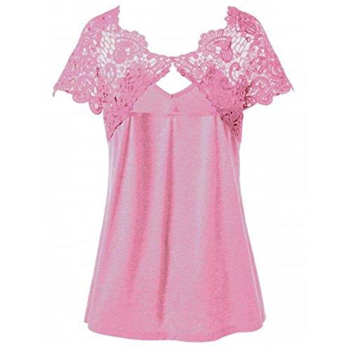 Donna L Cerniera Grossa Corta collo Da 4xl Oyeden Top Con Casual Taglia Rosa Abbigliamento Maglietta Estate Pizzo Camicetta V Moda T Manica shirt XHH7qR