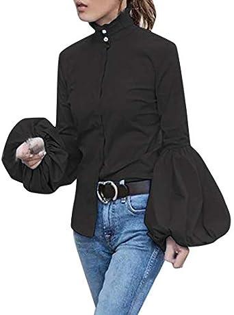 Camisa túnica Cuello Alto Mujer con Botones Elegante Slim Blusa Formal de Manga Larga Linterna de Negocios Ajustada Negro L: Amazon.es: Ropa y accesorios