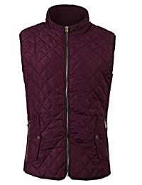FANHANG Women's Lightweight Quilted Zip Up Padding Vest Gilet with Pockets