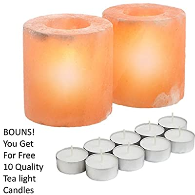 ShartPro Set Of 2 Cylinder Natural Himalayan Salt Candle Holder - Handcrafted From Himalayan Rock Salt crystals - Beautiful Salt Tea Light Holder + Pack From 10 Quality Tealight Candles