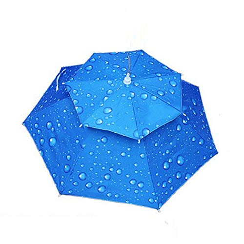 Tubwair Hands Free Fishing Umbrella Hat Double Layer Folding Canopy Vented UV Protection Windproof Waterproof Umbrella Cap Fishing Cycling Hiking Camping Gardening in Outdoor Recreation(Royal Blue) ()