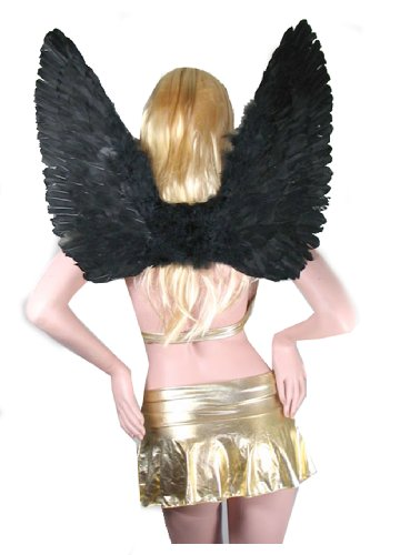 SACAS Large Black Feather Angel Wings for adults, women and ()