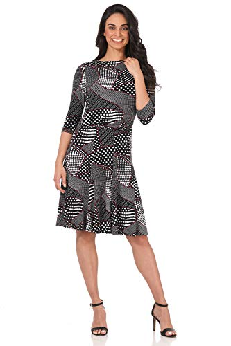 Rekucci Women's Flippy Fit N' Flare Dress with 3/4 Sleeves (6,Black/White Dot Patchwork)