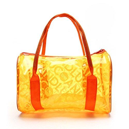 Qiansheng - Bolso de mano de moda, para dama, portátil en color gelatina con lunares, bolso de PVC para playa, bolso de mano para verano, bolso de PVC transparente, bolso con cremallera para deportes, Naranja