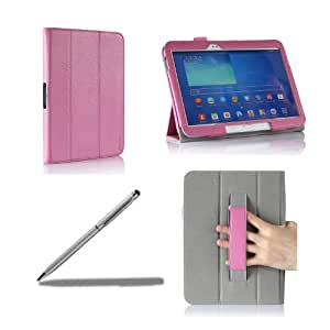 ProCase Samsung Galaxy Tab 3 10.1 Protective Case bonus stylus pen included - Tri-Fold Leather Smart Cover Case for Samsung Galaxy Tab 3 10.1 Inch Android Tablet, Built-in Stand, with Auto Sleep / Wake Feature GT-P5210 /GT-P5200 (Pink)