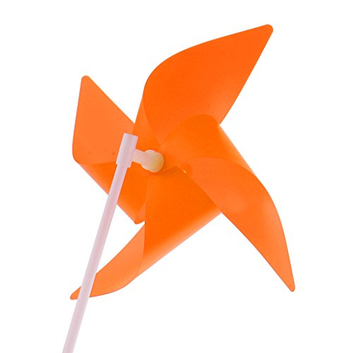 Orange Pinwheel (Jili Online 100 Pieces Classic 3D Flower Wheel Windmill Windsocks Home Garden Lawn Yard Camping DIY Decor Kids Hand-on Indoor Outdoor Toy Orange)
