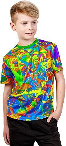 aofmoka Neon UV 3D Blacklight Handmade Art New Age Vibrant Indigo Kids T-Shirt