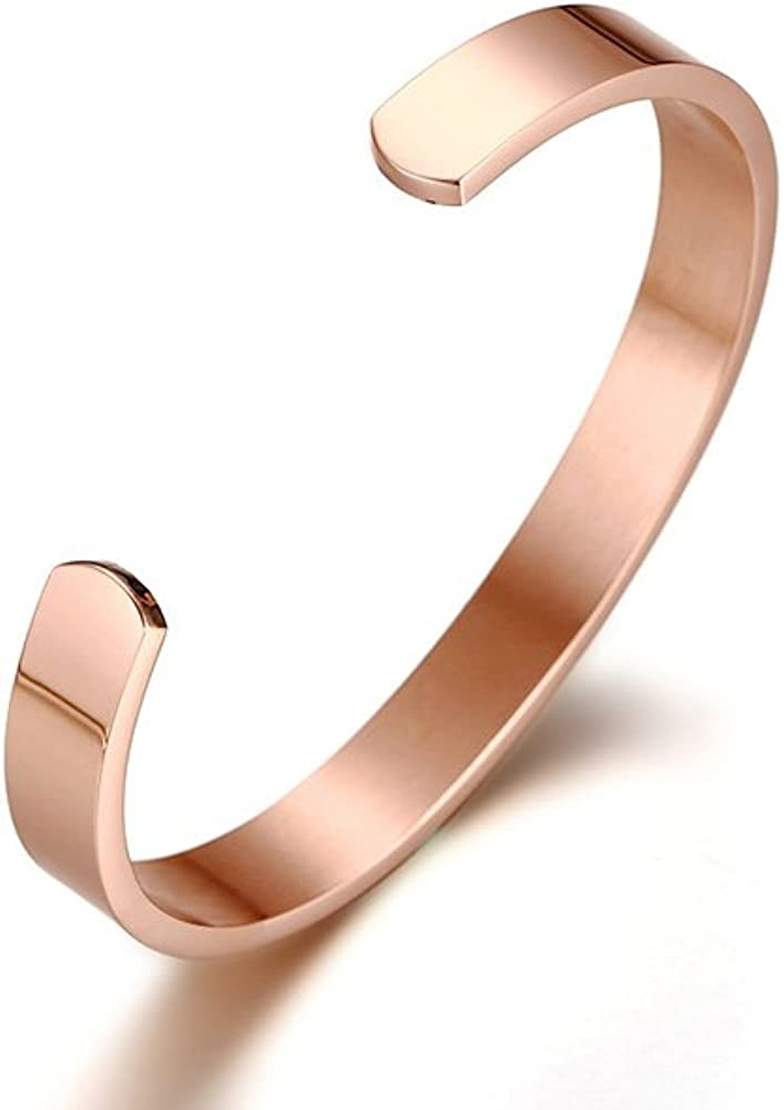 XUANPAI Personalized Custom Name Coordinate Stainless Steel 8MM Cuff Bangle Bracelet Gift for Women Men