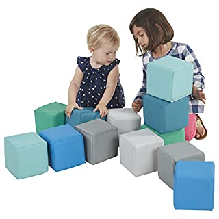 ECR4Kids SoftZone Patchwork Toddler Block Playset, Gentle Foam Blocks for Safe Active Play and Building, Built to Last, Certified and Safe, 12-Piece Set, Contemporary