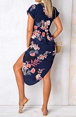 Comaba Women Floral Beachwear Short Sleeve Color Blocks Strappy V Neck Dresses
