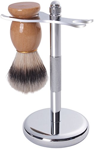 Price comparison product image Deluxe Silver Razor and Brush Stand - Badger Shaving Brush - Chrome Finish - Rust Free and Unbreakable - By Utopia Care