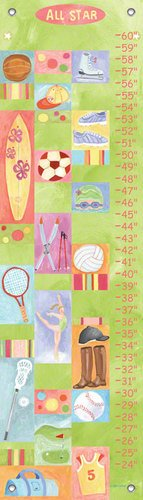All Star Growth Chart - Oopsy Daisy All Star Girl by Donna Ingemanson Growth Charts, 12 by 42-Inch