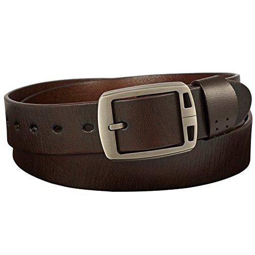 Ferlin Men's Classic Geniune Leather Jean Belt 38mm Wide (Dark Brown), Enclosed (Mens Bridle)