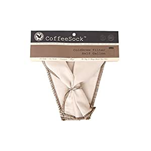 CoffeeSock DIY ColdBrew 1/2 Gallon- GOTS Certified Organic Cotton Reusable Coffee Filter