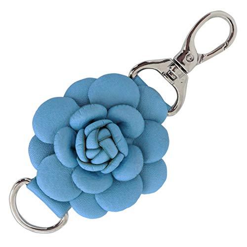 Genuine Leather Handmade Rose Charms | Pom Pom Keychain | for Tassel Bags Purse Backpack (Light Blue - -