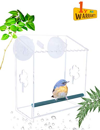 VIITION Bird Feeders for Outside, Extra Strong Suction Cups Window Bird Feeders with Drainage Holes (Without Solar Light)