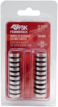 Ferrestock FSKNDC002 Pack de imanes Redondos de neodimio (Tierras Raras) con una Fuerza de sujeción Super Potente, fijación Extra, 14x4 mm, 20 Unidades, 14 x 4 mm, Set Piezas: Amazon.es: Bricolaje y herramientas