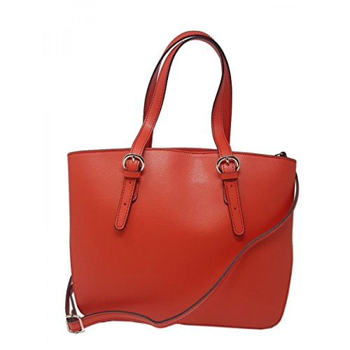 Italy Bag In Color Tuscan Woman Red Shopper Genuine Leather Made nWpPzxz
