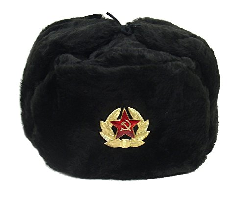 Hat Russian Soviet Army KGB Military Cossack Ushanka BLACK* Size S (metric 56) (Soviet Army Hat)
