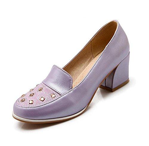 Femme, rond, orteil, épais, mi, heeled, peu profond, bouche... , purple , 38
