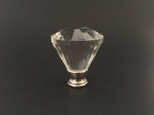 Crystal Munroe Lamp Finial for Lamp Shade, Brushed Steel Finish Base