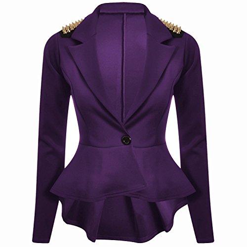 Forever Womens Long Sleeves Plain Spikes Shoulder Peplum Button Blazer -