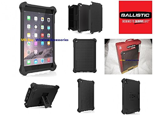 Ballistic Series Tough Jacket TJ Original Oem Black Heavy Duty Cover Case W/ Display Kickstand / shock absorbent polymer/ Rubberized / Handle Accidents/ Drops and Impacts Protector / Display Kick Stand / Reinforced Ballistic Corners Guaranteed! for Apple Ipad Mini 4 Tablet W/ Retail Packaging