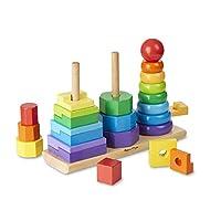 """Juguete para niños pequeños con apilador geométrico Melissa y Doug, juguetes de desarrollo, anillos, octágonos y rectángulos, 25 piezas de madera de colores, 11 """"Alt. X 3.5"""" An. X 8.5 """"L"""