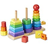 "Melissa & Doug Geometric Stacker Toddler Toy, Developmental Toys, Rings, Octagons, and Rectangles, 25 Colorful Wooden Pieces, 11"" H x 3.5"" W x 8.5"" L"
