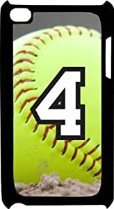 Softball Sports Fan Player Number 4 Black Plastic Decorative iPod iTouch 4th Generation Case