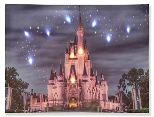 (Ruidoz-Lighted Disney Castle Wall Art- Canvas Prints for Home Decoration 9 LED Lights 12x16-0903RZ)